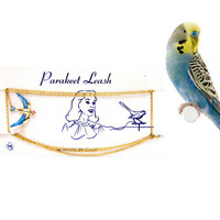 Vintage Parakeet Leash Gold Tone Chain Enamel Bird Pin Brooch Original Card New Old Stock