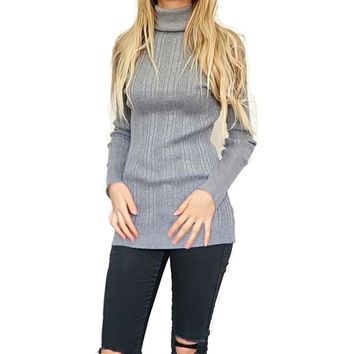 Spring Autumn Sexy Slim Women Long Sleeve Elasticity Solid Color Turtleneck Stripe Computer Knitted Pullover Sweater