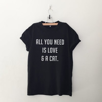 All you need is love and a cat tshirt for women white graphic tee funny printed top womens gift sassy cute tumblr fall winter back to school