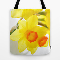 narcissus flowers Tote Bag by Yumehana Design Fine Art Photography