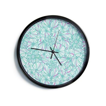 "Julia Grifol ""My Turquoise Flowers"" Teal Pink Modern Wall Clock"