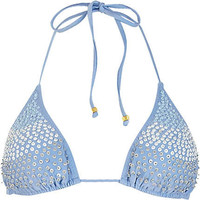 Blue sequin embellished bikini top - bikinis - swimwear / beachwear - women