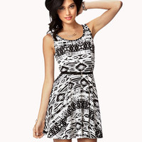 FOREVER 21 Tribal Print Skater Dress w/ Belt Cream/Black Medium