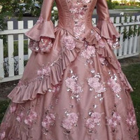 Beautiful new Dusty Rose Floral Sparkle Fantasy Marie Antoinette Princess Gown Custom