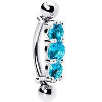 Silver 925 Aqua Austrian Crystal Trilogy Eyebrow Ring