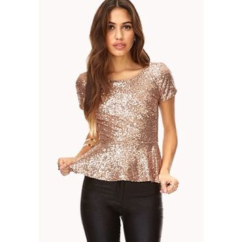 Forever21 Gold sequin peplum top