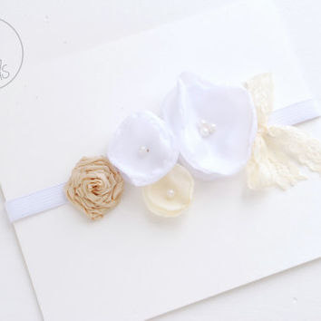 Baby Headband, newborn Headband, WHITE Baby girl Headband, Baptism Headband, Baby Headbands, Infant Headband, Baby Flower girl, Baby