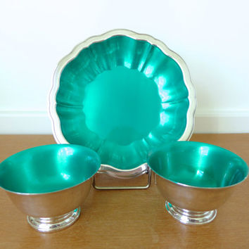 Green enamel silver plate bowl set