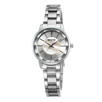 ZLYC Women Simple Fashion Two-tone Stainless Steel Band Round Face Quartz Wrist Watch Silver