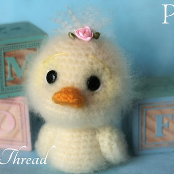 Elfin Thread - Fuzzy Mini Duck Amigurumi PDF Pattern (Duckie crochet pdf pattern)