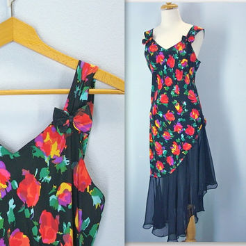 80s Silky Sheer Diagonal Floral Dress Tiny Bows Tank Dress