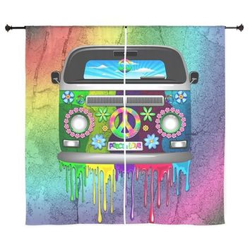 HIPPIE VAN DRIPPING RAINBOW PAINT CURTAINS