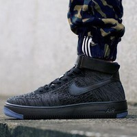 PEAPON Originals Nike Air Force One 1 Flyknit Mid Black Running Sport Casual Shoes '07 817420-010 Sneakers