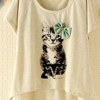 Kitten with Bowtie T-shirt WEZ812 from topsales