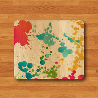 Colored Drops Splash Wood Paint Mouse Pad Mat Abstract Wooden MousePad Natural Desk Deco Watercolor Computer Pad Personalized Office Gift