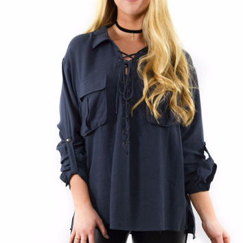 Made Up My Mind Charcoal Long Sleeve Collared Top