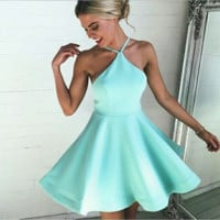 Light blue Halter Neck  strappy dress  B0014701