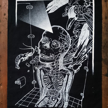 dark rave patch sew psychedelic patch bad trip patch punk back patch occult back patch screen printed black magic patch fear loathing patch