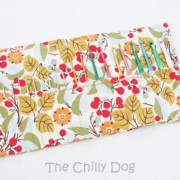 Roll Up Crochet Hook Case: Fall Floral Berry