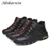 2018 New Winter Geniune Leather Shoes Men Wool Inside Leather Ankle Booting Non-slip Plush Male Hot Warm Snow Mens Shoes
