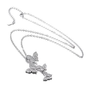 Sterling Silver Fine CZ Butterfly Pendant Necklace