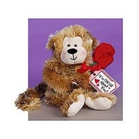 """Wild About You Plush Monkey Carrying Red Rose (8.5"""" high)"""