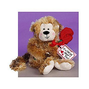 "Plush - ""Wild About You"" Monkey with Red Rose"
