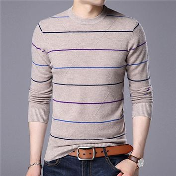 Sweater Men New Autumn Winter Warm Cashmere Pullover Men Casual Stripe O-Neck Pull Homme Merino Wool Sweaters