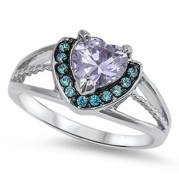 925 Sterling Silver CZ Heart Lavender and Simulated Blue Topaz Ring 9MM