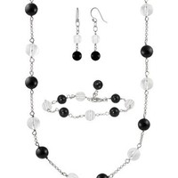 Sterling Silver Black agate and Crystal Jewelry Set
