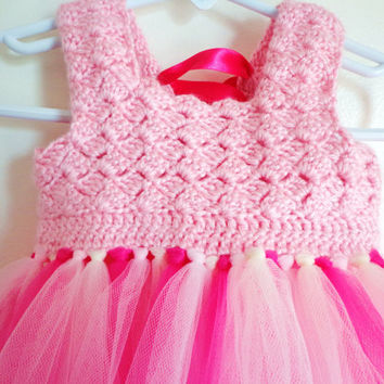 Infant toddler Girls Crochet top Tutu Dress: Corset tie back pageant dress boutique dress 6M, 12M, 24M 3T 4T 5T
