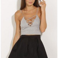 Tops > Lace-Up Crop Top In Grey