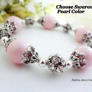 Choose Color Swarovski Pink Pearl Bracelet Antique Silver Vintage Style Wedding Jewelry Bridesmaid Bracelet Birthday Gift For Her Custom