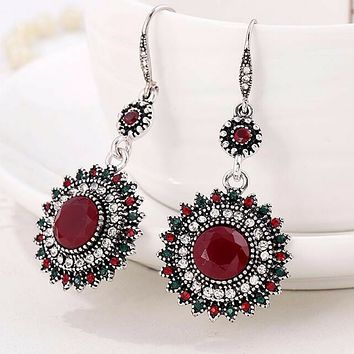 Red Crystal Antique Silver Drop Earrings