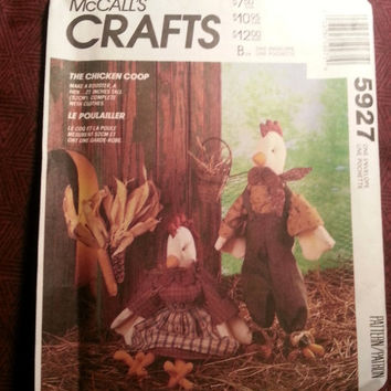 Uncut 1992 McCall's Sewing Pattern, 5927! The Chicken Coop/Stuffed Rooster Dolls/Doll Clothes/Doll Dress/Overalls/Aprons/Home Decor/Toys
