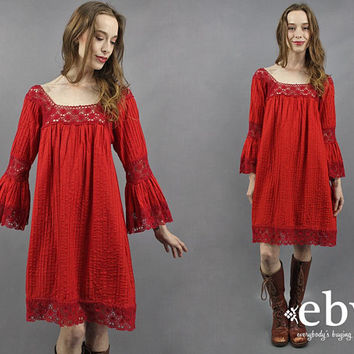 Crochet Dress 1970s Dress 70s Dress Hippie Dress Hippy Dress Boho Dress Bell Sleeve Dress Festival Dress Red Dress Bohemian Dress S M