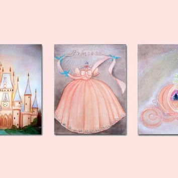 Princess Decor, Baby Girl Nursery, Nursery prints, Cinderella, Princess Art, Nursery Decor, Kids Baby Decor, Kids Wall Art, Girls room Decor