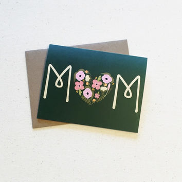 Mother's Day Card - Foral Heart