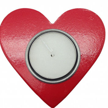 German Party Favor Heart Candle Votive Red