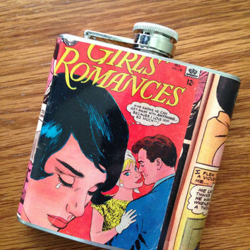 Girls Romances Vintage Comic Book Stainless Steel Hip Flask