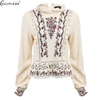 Gamiss Women Embroidery Blouses Boho Ethnic Elegant Vintage Retro Long Sleeve Floral Embroidery Ruffle Casual Shirts Blusa