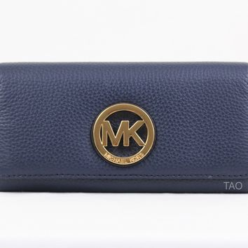Michael Kors Fulton Flap Continental Wallet Clutch Navy Pebble Leather New NWT