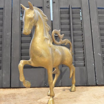 Vintage Brass Horse, Horse Decor, Equine, Brass Animal, Horse Statue, Horse Figurine