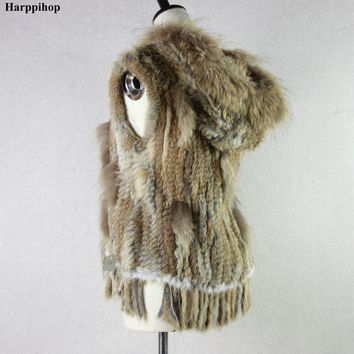 Harppihop fashion rabbit fur vest raccoon fur trimming knitted rabbit fur vest with hood fur waistcoat gilet