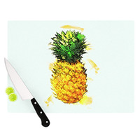 "Oriana Cordero ""Slice of Summer"" White Yellow Cutting Board"