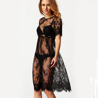Black Sheer Sexy Beach Cover Up Lace Embroidery Mesh Cover Ups Short Sleeve Swimsuit Cover Up Summer Dress Beach Wear For Women