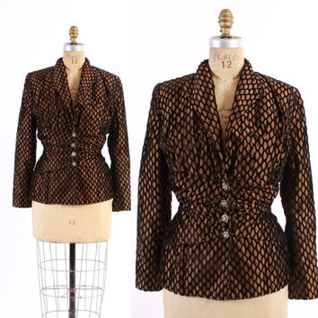 40s LILLI ANN 2-Tone BLAZER / Vintage 1940s Black & Brown Textured Sharkskin and Velvet Ruched Jacket