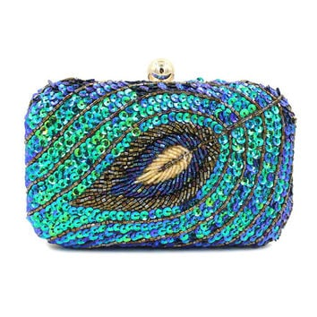 Blue Leaf Patterned Beaded and Sequined Clutch Bag