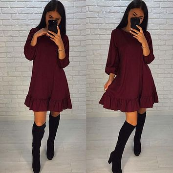 SIMIN 2017 Women Fall Loose Ruffles Dresses O-Neck Three Quarter Sleeve Casual Dress Fashion Mini Dresses Women Clothing