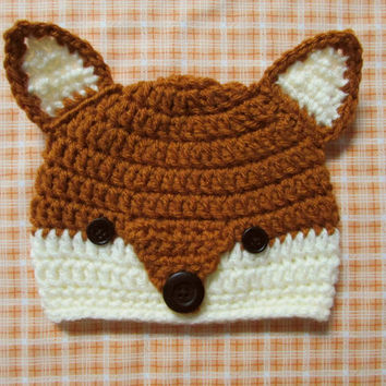 Crocheted Fox Hat for Newborn, Infant or Toddler for Photo Prop, Child, Teen and Adult